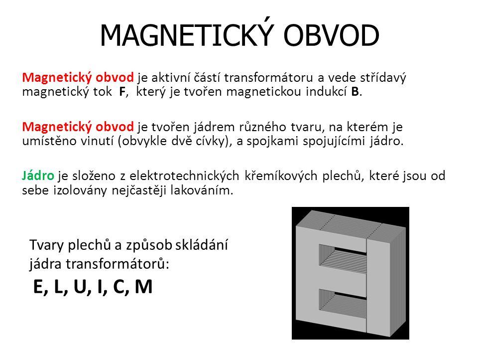 MAGNETICKÝ OBVOD Tvary plechů a způsob skládání jádra transformátorů: