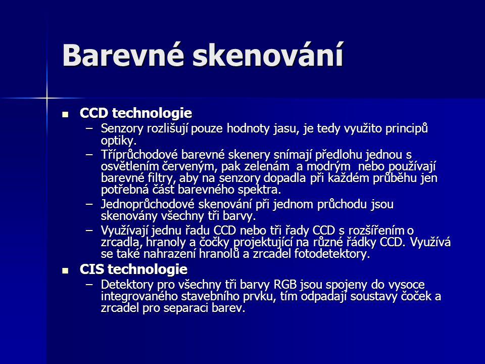 Barevné skenování CCD technologie CIS technologie