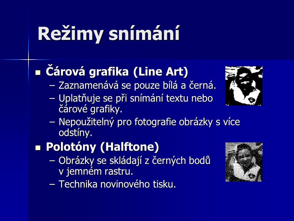 Režimy snímání Čárová grafika (Line Art) Polotóny (Halftone)