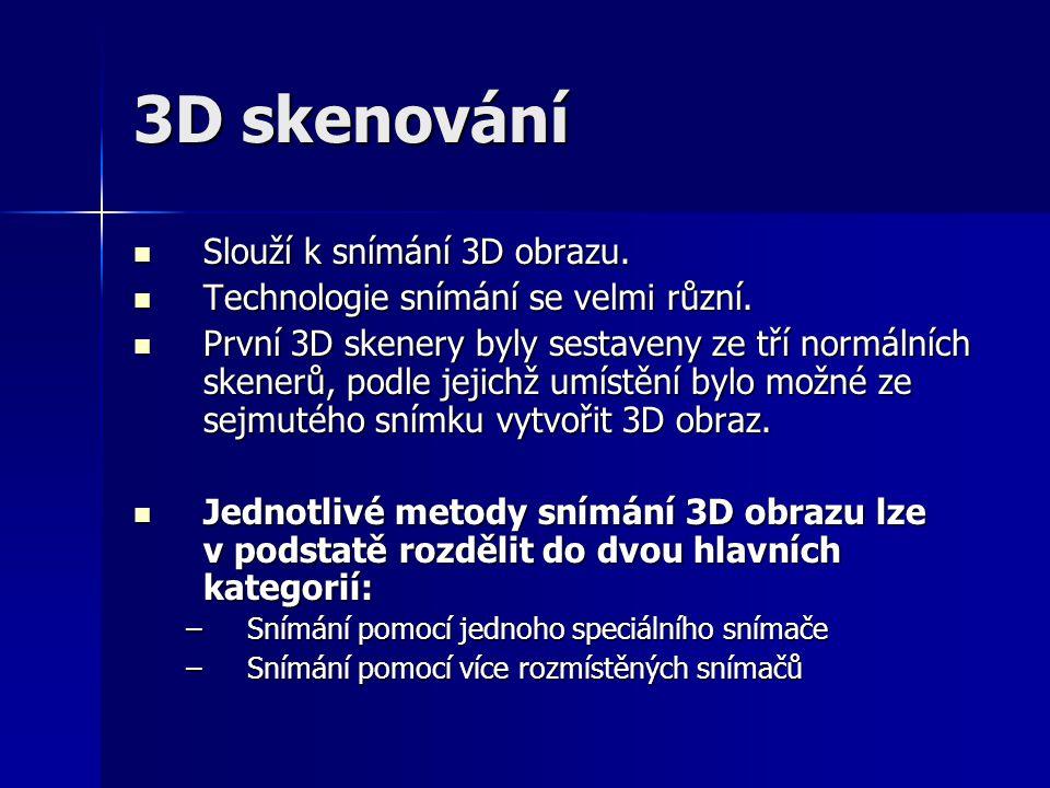3D skenování Slouží k snímání 3D obrazu.