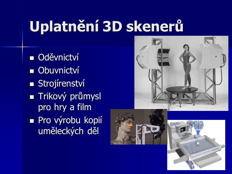 Uplatnění 3D skenerů Oděvnictví Obuvnictví Strojírenství
