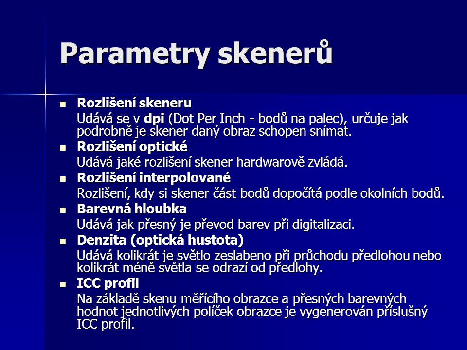Parametry skenerů Rozlišení skeneru