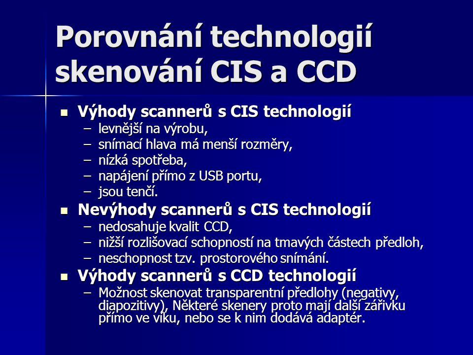 Porovnání technologií skenování CIS a CCD