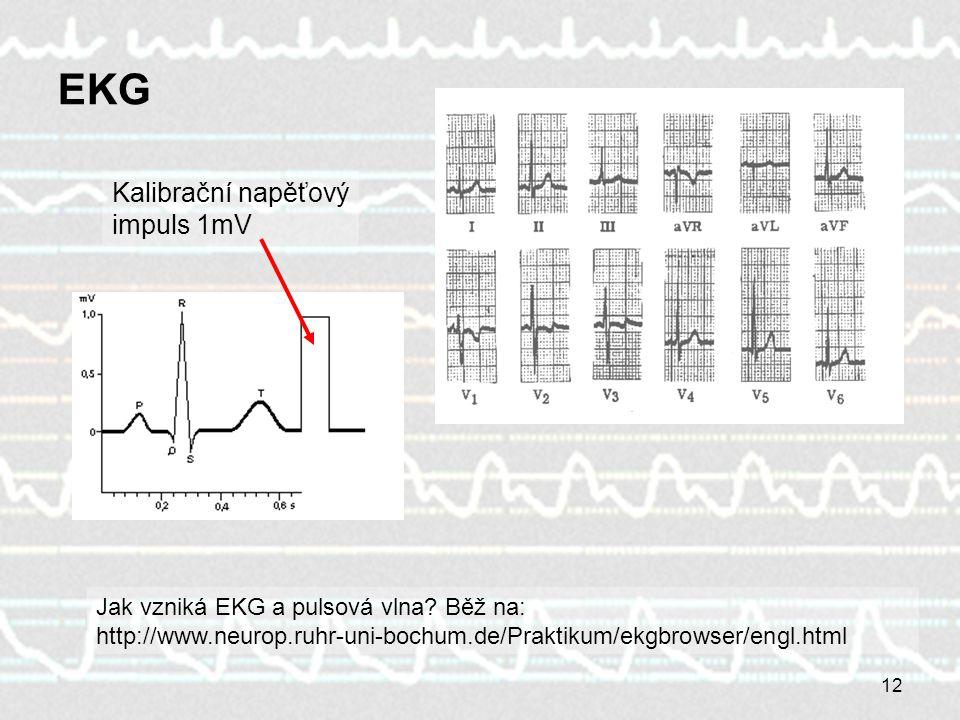 EKG Kalibrační napěťový impuls 1mV
