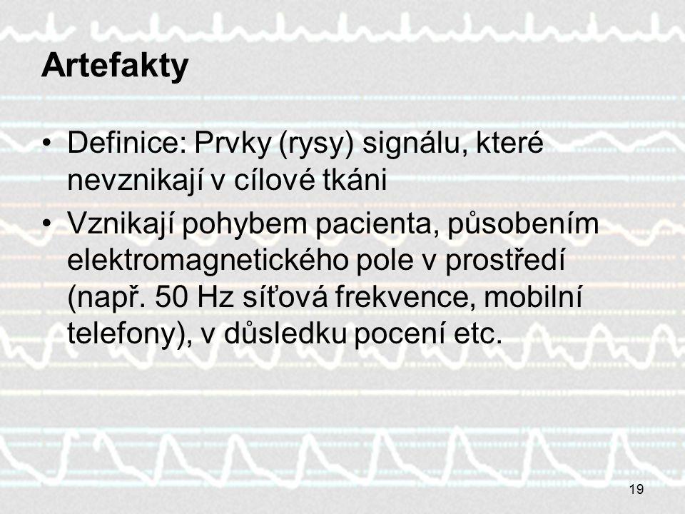 Artefakty Definice: Prvky (rysy) signálu, které nevznikají v cílové tkáni.