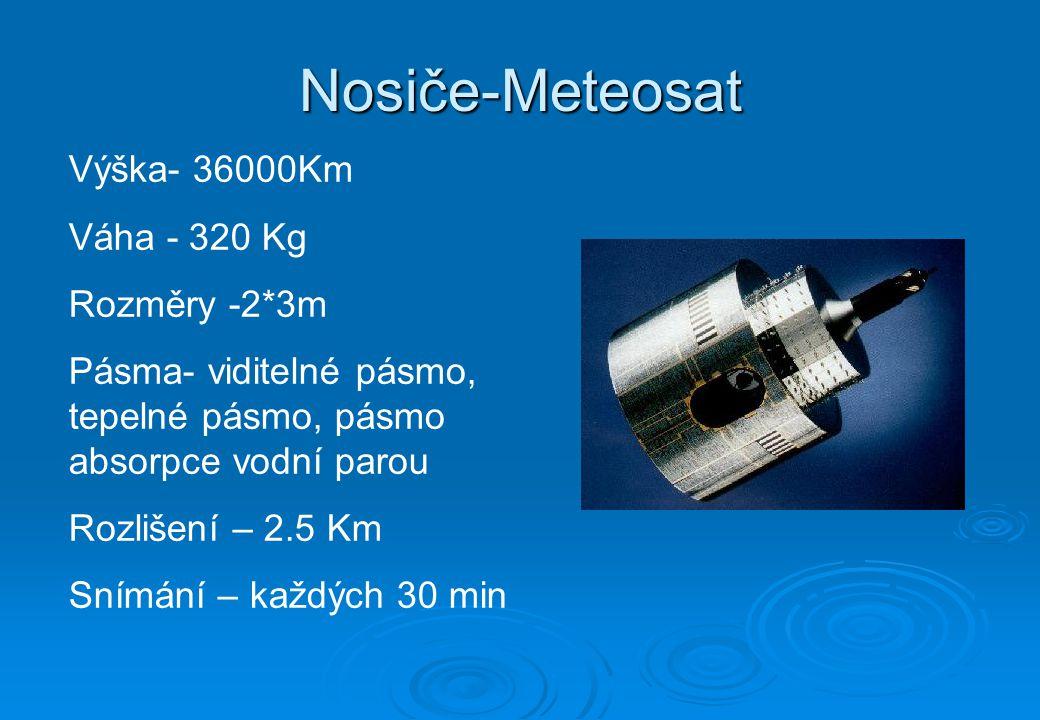 Nosiče-Meteosat Výška- 36000Km Váha - 320 Kg Rozměry -2*3m