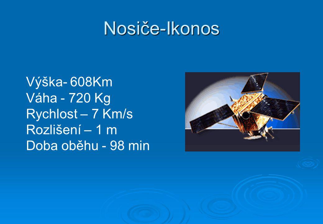 Nosiče-Ikonos Výška- 608Km Váha - 720 Kg Rychlost – 7 Km/s