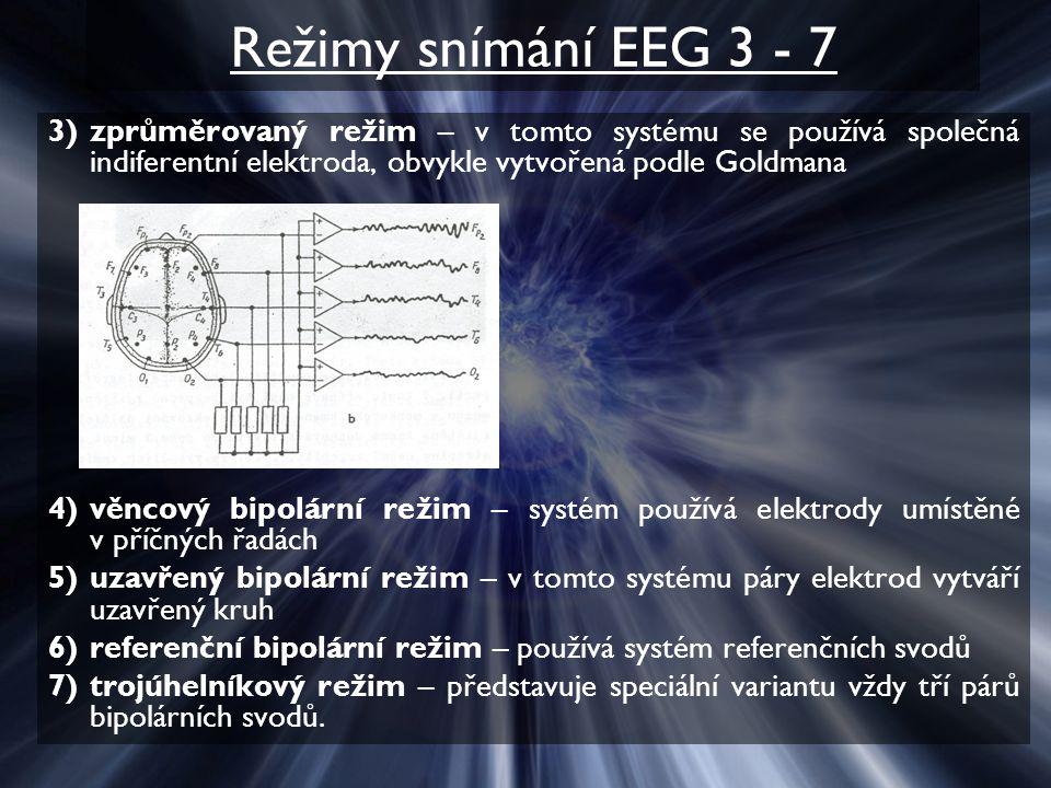 Režimy snímání EEG 3 - 7 zprůměrovaný režim – v tomto systému se používá společná indiferentní elektroda, obvykle vytvořená podle Goldmana.