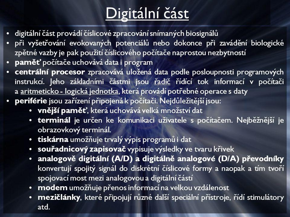 Digitální část digitální část provádí číslicové zpracování snímaných biosignálů.
