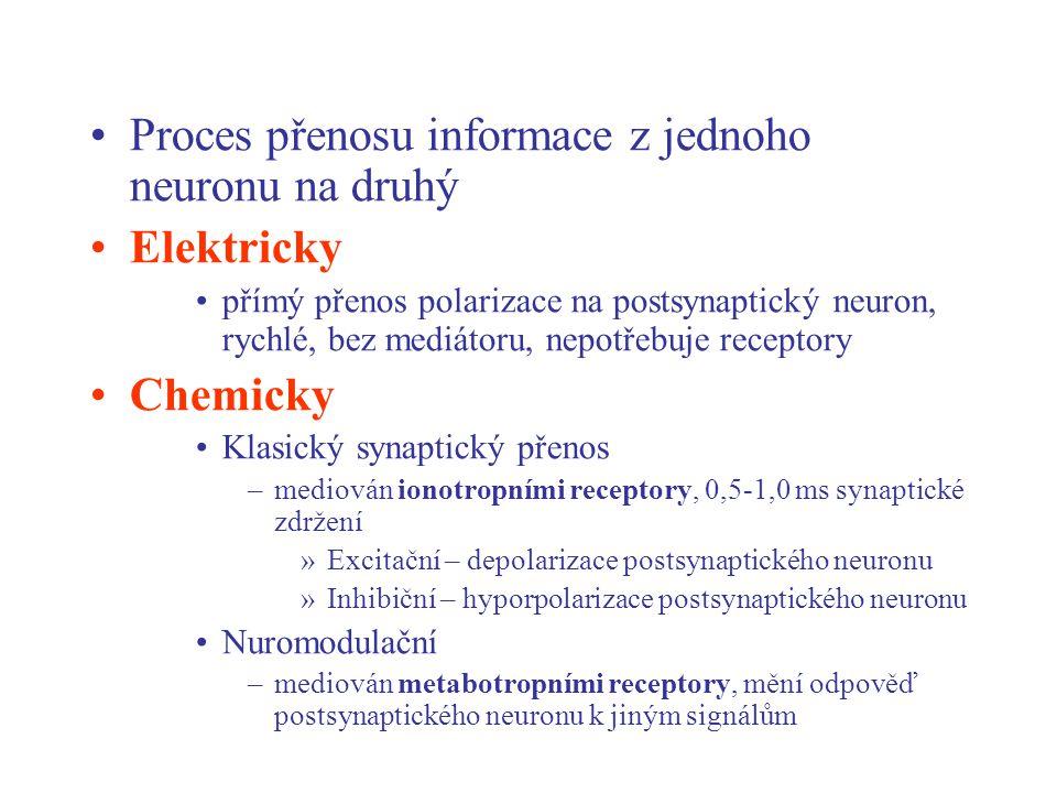 Proces přenosu informace z jednoho neuronu na druhý Elektricky