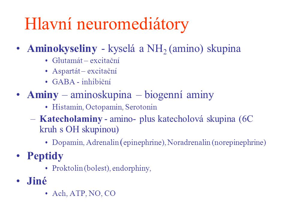 Hlavní neuromediátory