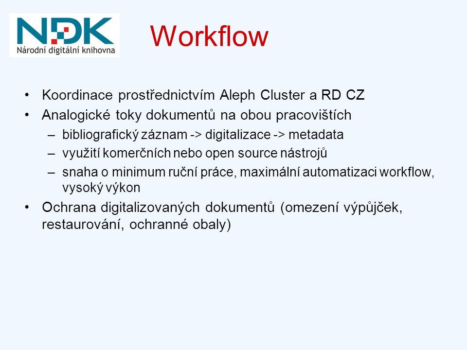 Workflow Koordinace prostřednictvím Aleph Cluster a RD CZ