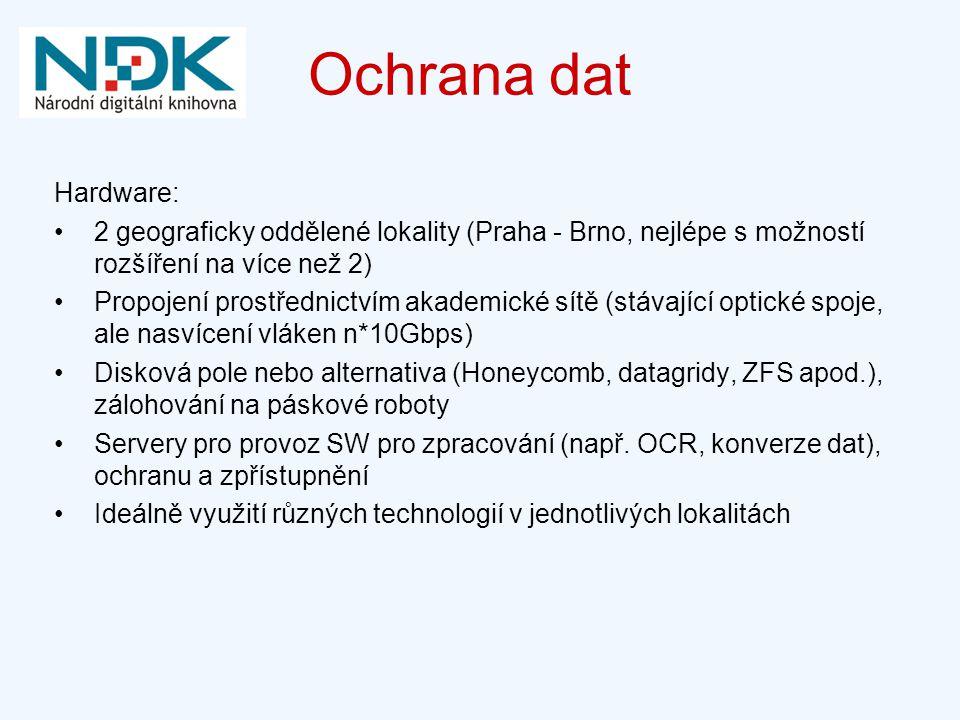 Ochrana dat Hardware: 2 geograficky oddělené lokality (Praha - Brno, nejlépe s možností rozšíření na více než 2)