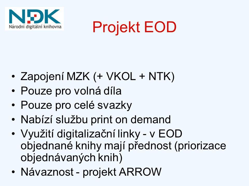 Projekt EOD Zapojení MZK (+ VKOL + NTK) Pouze pro volná díla