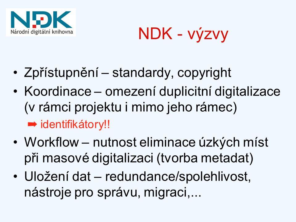 NDK - výzvy Zpřístupnění – standardy, copyright