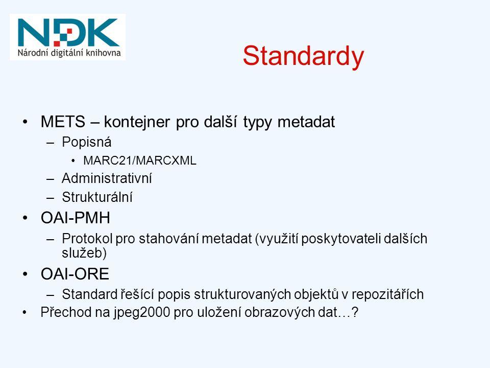Standardy METS – kontejner pro další typy metadat OAI-PMH OAI-ORE