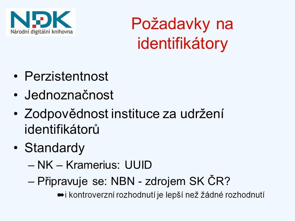 Požadavky na identifikátory