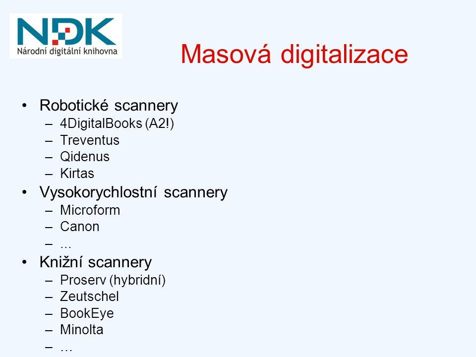 Masová digitalizace Robotické scannery Vysokorychlostní scannery