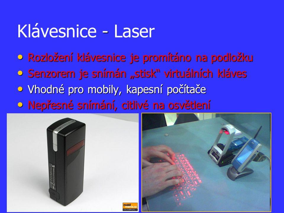 Klávesnice - Laser Rozložení klávesnice je promítáno na podložku