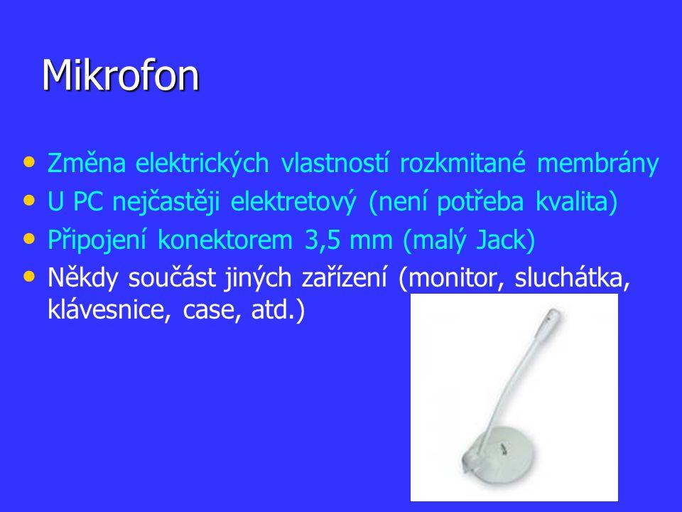 Mikrofon Změna elektrických vlastností rozkmitané membrány