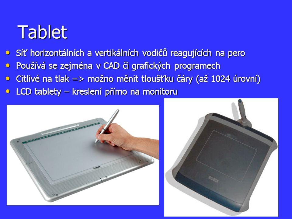 Tablet Síť horizontálních a vertikálních vodičů reagujících na pero