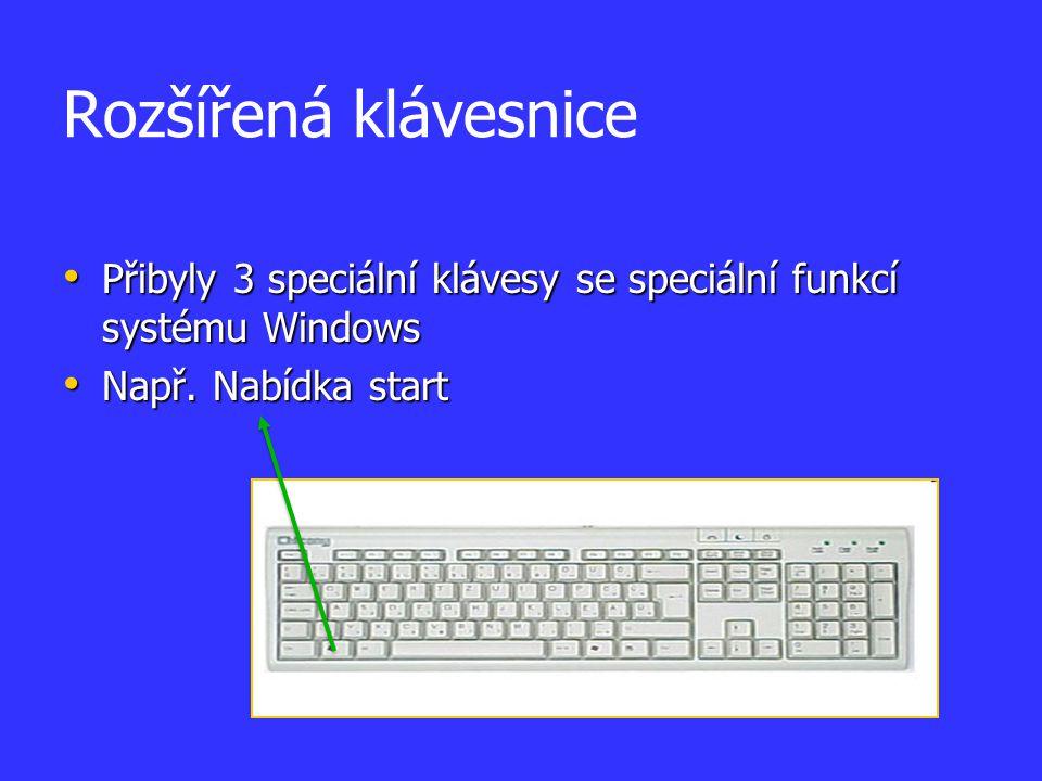 Rozšířená klávesnice Přibyly 3 speciální klávesy se speciální funkcí systému Windows.
