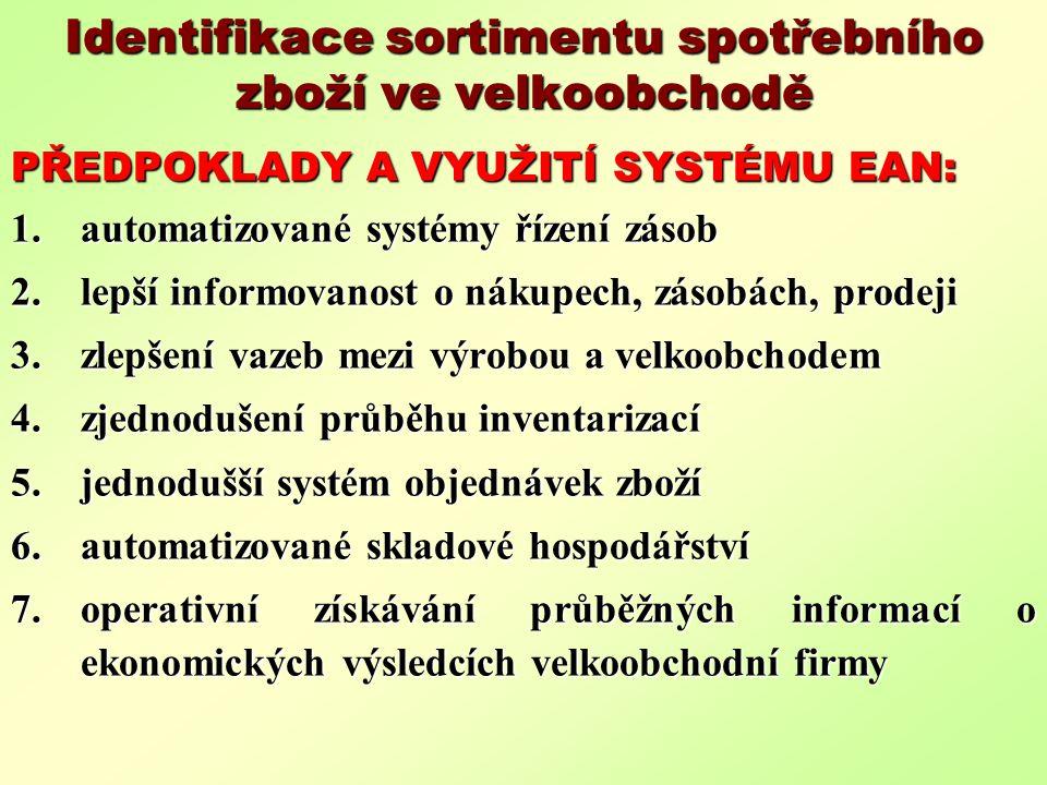 Identifikace sortimentu spotřebního zboží ve velkoobchodě