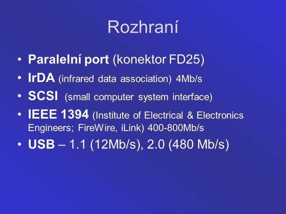 Rozhraní Paralelní port (konektor FD25)