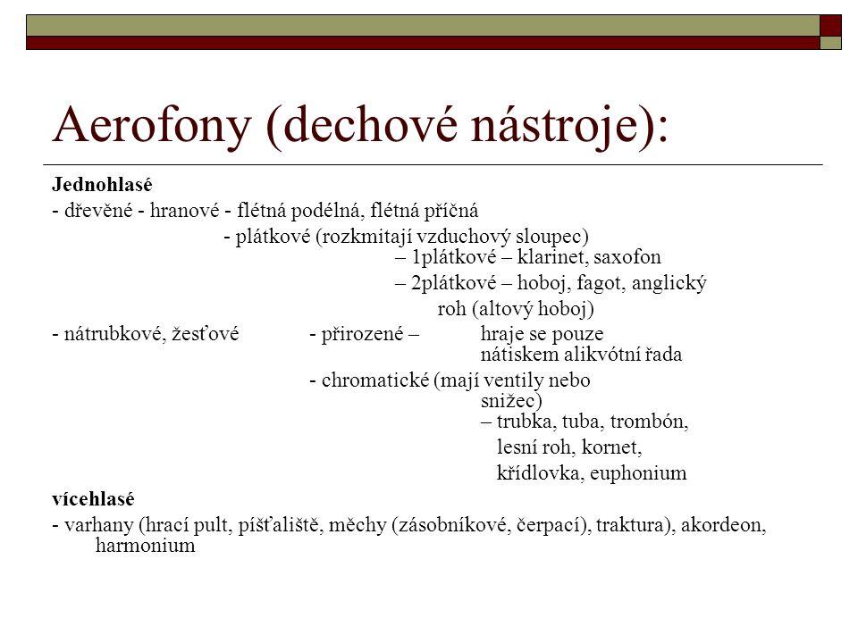 Aerofony (dechové nástroje):