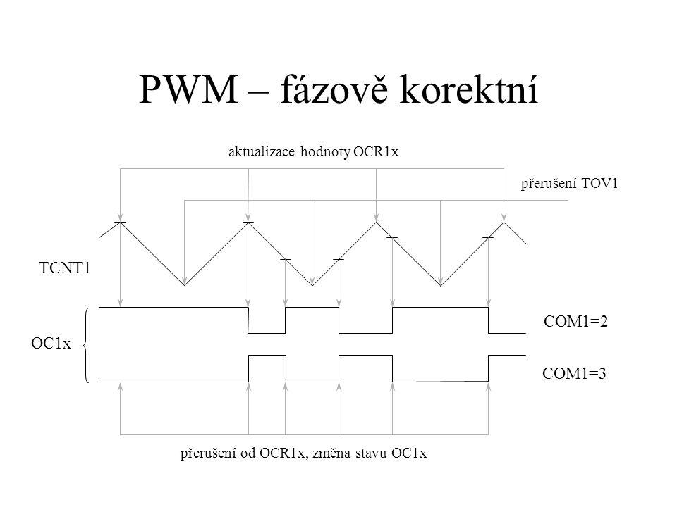 PWM – fázově korektní TCNT1 COM1=2 OC1x COM1=3