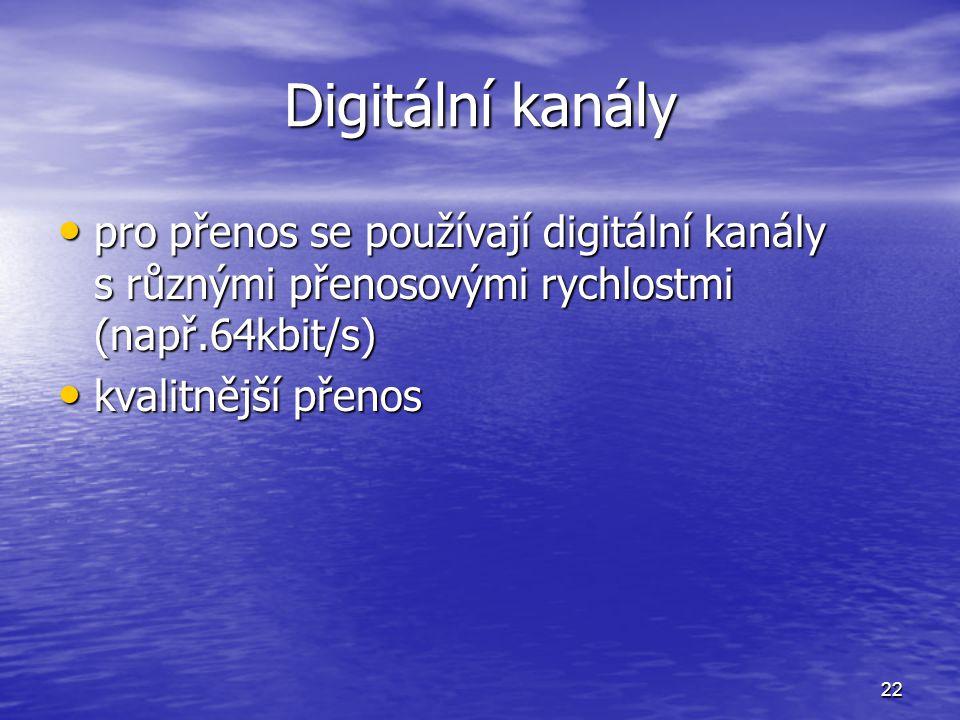 Digitální kanály pro přenos se používají digitální kanály s různými přenosovými rychlostmi (např.64kbit/s)