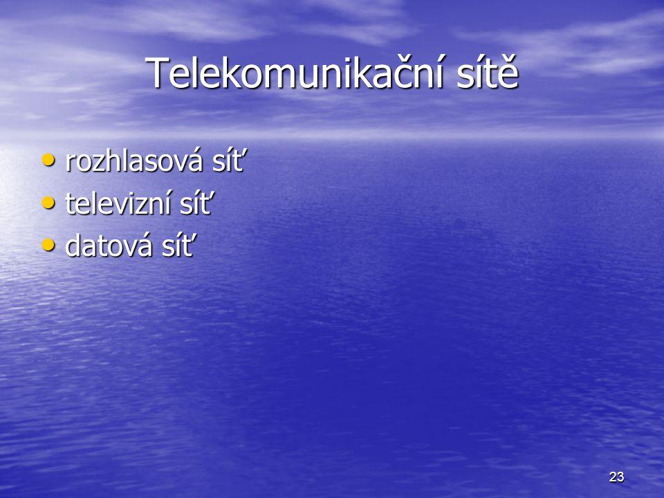 Telekomunikační sítě rozhlasová síť televizní síť datová síť