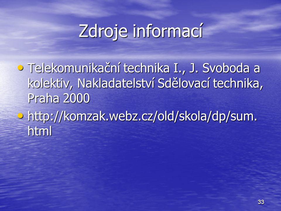 Zdroje informací Telekomunikační technika I., J. Svoboda a kolektiv, Nakladatelství Sdělovací technika, Praha 2000.
