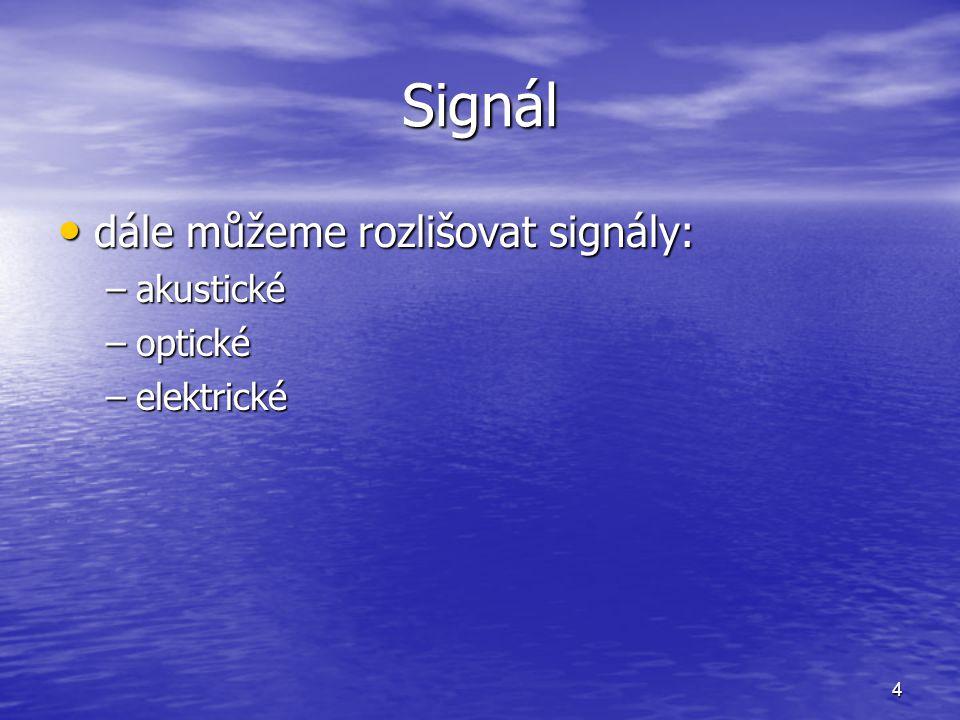 Signál dále můžeme rozlišovat signály: akustické optické elektrické