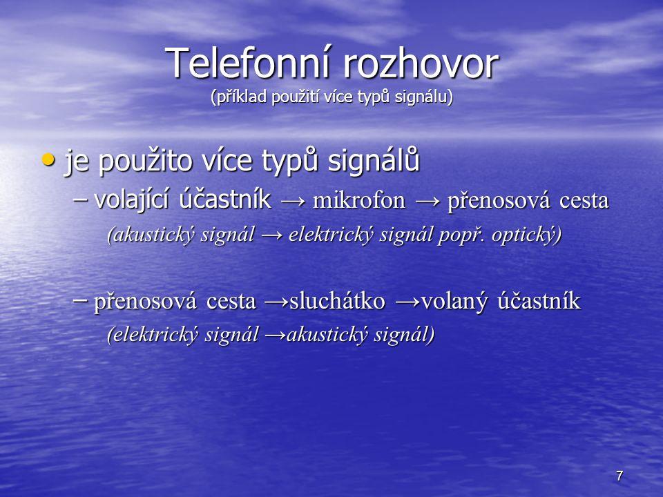 Telefonní rozhovor (příklad použití více typů signálu)