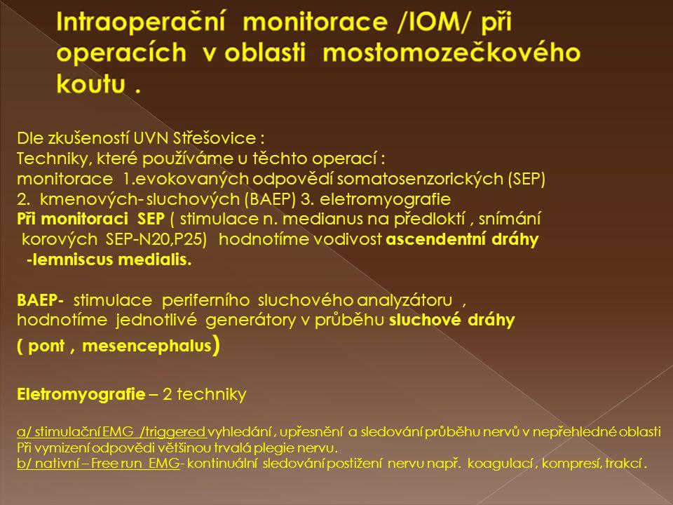 Intraoperační monitorace /IOM/ při operacích v oblasti mostomozečkového koutu .