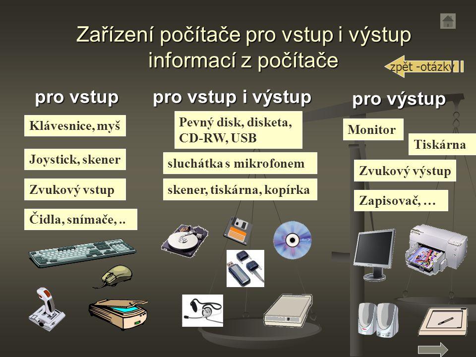 Zařízení počítače pro vstup i výstup informací z počítače