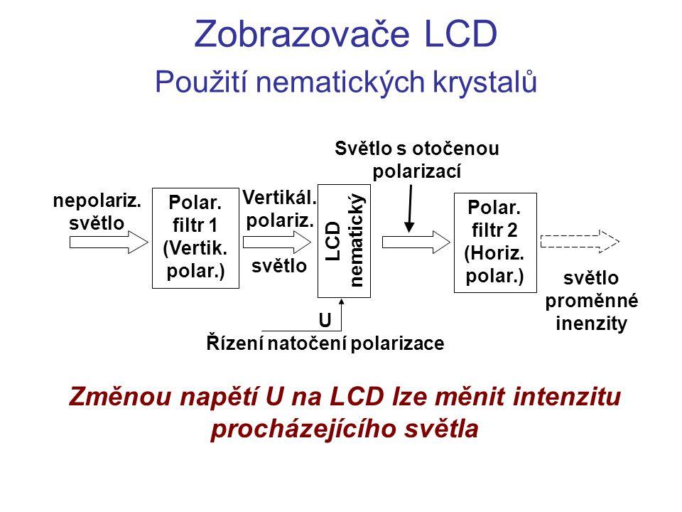 Zobrazovače LCD Použití nematických krystalů