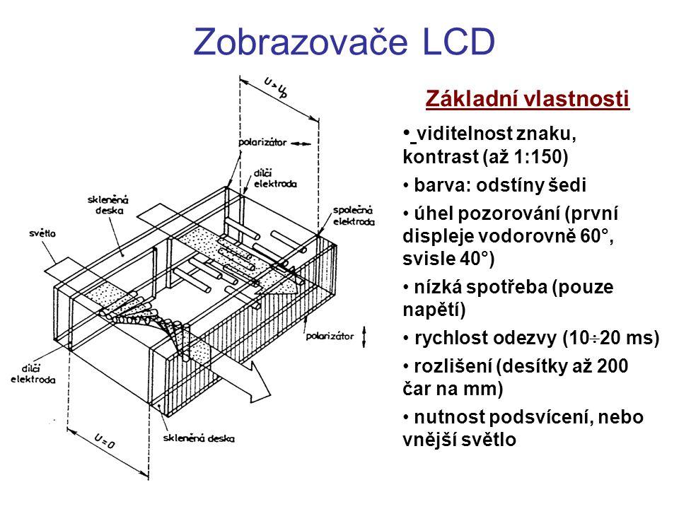 Zobrazovače LCD Základní vlastnosti