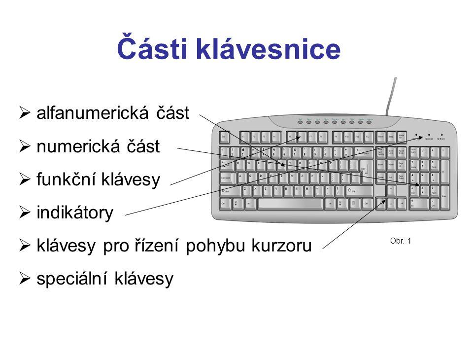 Části klávesnice alfanumerická část numerická část funkční klávesy