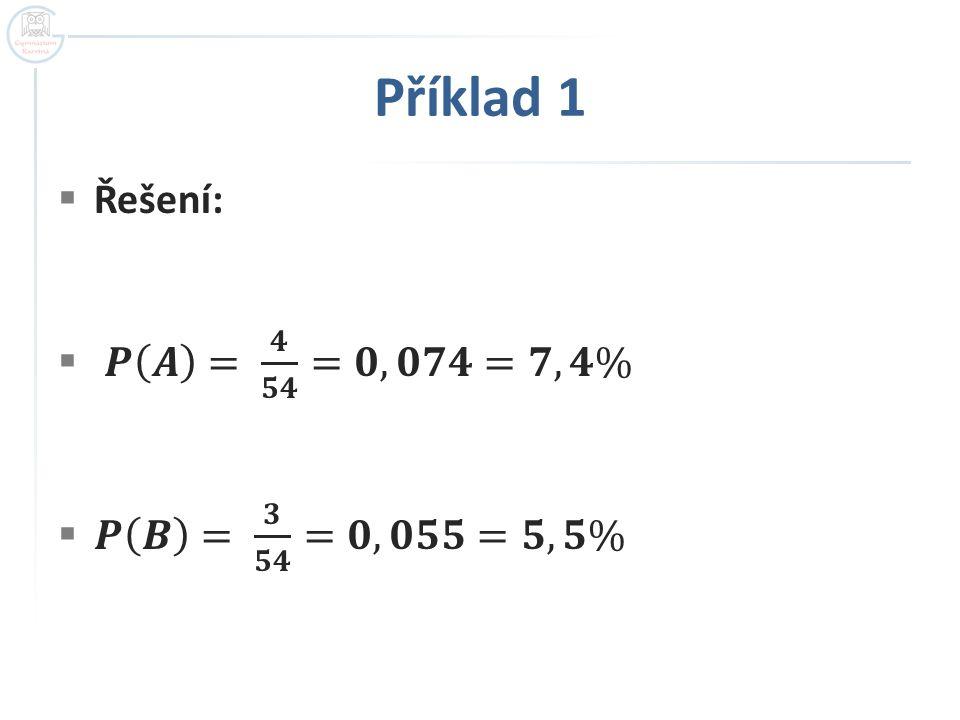 Příklad 1 Řešení: 𝑷 𝑨 = 𝟒 𝟓𝟒 =𝟎,𝟎𝟕𝟒=𝟕,𝟒% 𝑷 𝑩 = 𝟑 𝟓𝟒 =𝟎,𝟎𝟓𝟓=𝟓,𝟓%