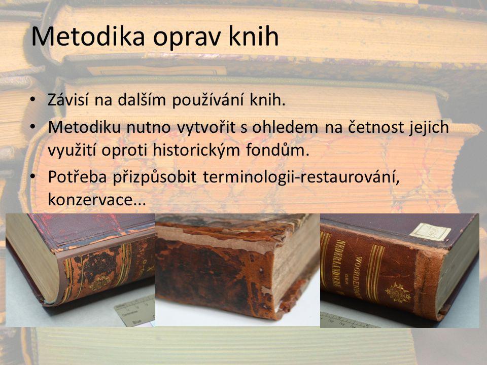 Metodika oprav knih Závisí na dalším používání knih.