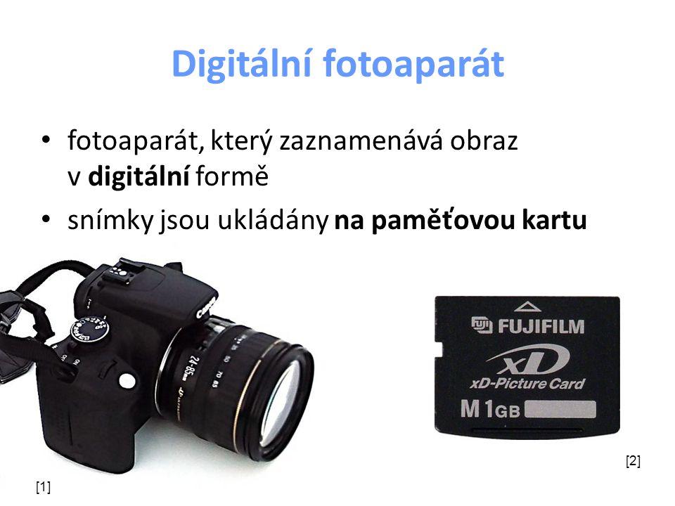 Digitální fotoaparát fotoaparát, který zaznamenává obraz v digitální formě. snímky jsou ukládány na paměťovou kartu.