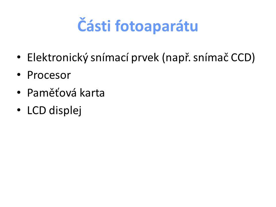 Části fotoaparátu Elektronický snímací prvek (např. snímač CCD)