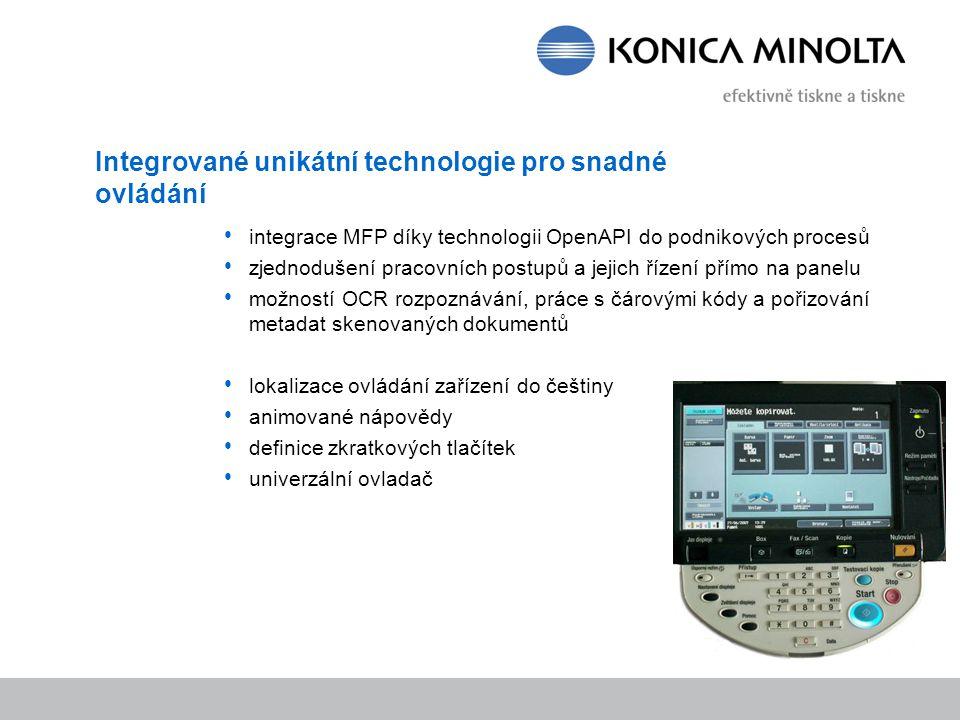Integrované unikátní technologie pro snadné ovládání