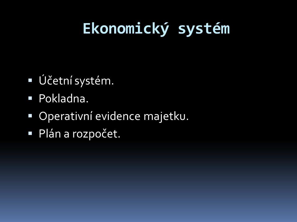 Ekonomický systém Účetní systém. Pokladna.