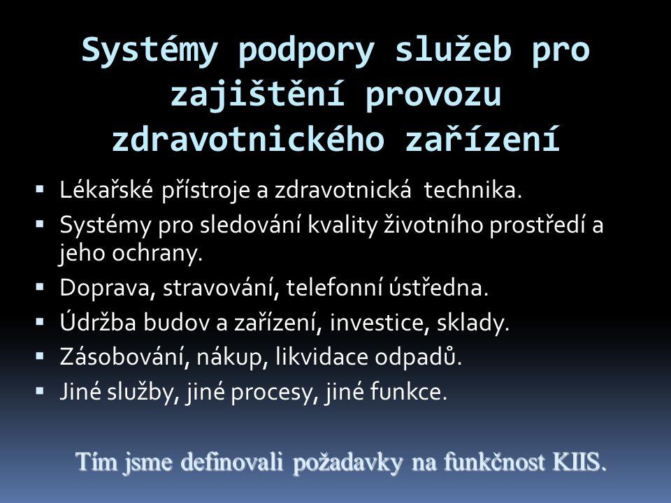 Systémy podpory služeb pro zajištění provozu zdravotnického zařízení