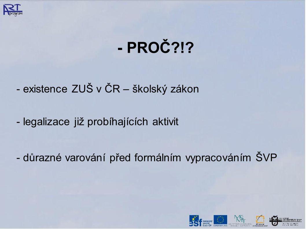 - PROČ ! - existence ZUŠ v ČR – školský zákon