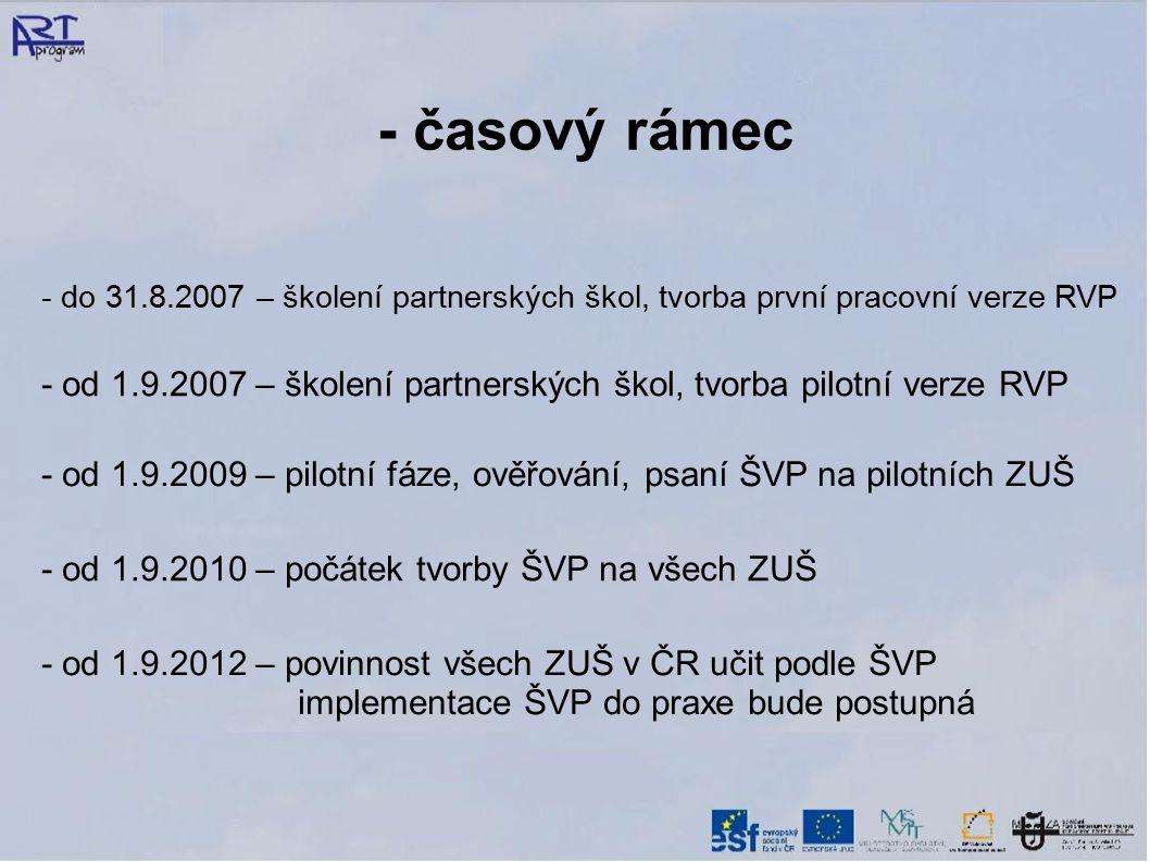 - časový rámec - do 31.8.2007 – školení partnerských škol, tvorba první pracovní verze RVP.