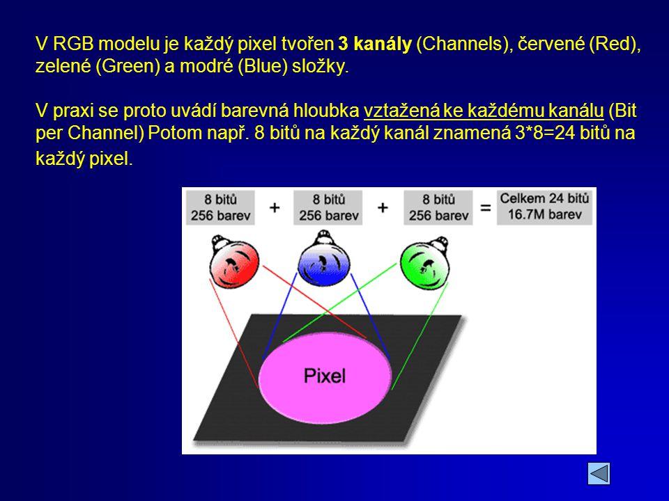 1.den GRAFIKA A DIGITÁLNÍ FOTOGRAFIE. V RGB modelu je každý pixel tvořen 3 kanály (Channels), červené (Red), zelené (Green) a modré (Blue) složky.